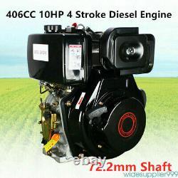 4 Stroke 10HP Diesel Engine 406cc Vertical Single Cylinder 72.2mm Shaft Length