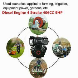 4 Stroke 9HP Diesel Engine Single Cylinder 406cc & 72.2mm Shaft Length Machine