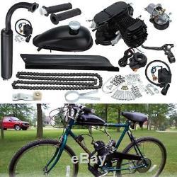 Black 80cc 2 Stroke Gas Engine Motor Kit Motorized Bicycle Single Cylinder