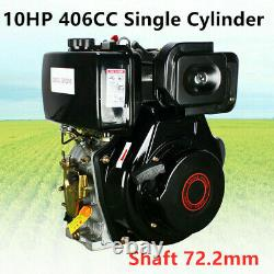 New Diesel Engine 4 Stroke 10HP 406CC Single Cylinder Machinery + Shaft 72.2mm