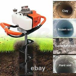 Post Hole Digger 63cc Gas Powered Auger Earth Drills Single Cylinder Two Stroke