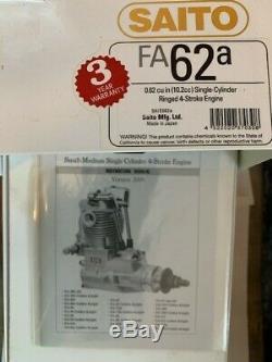 Saito FA62A NIB. 62cu Single Cylinder Ringed 4-Stroke Engine