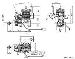 Two-stroke single-cylinder gasoline model airplane engine, 9cc